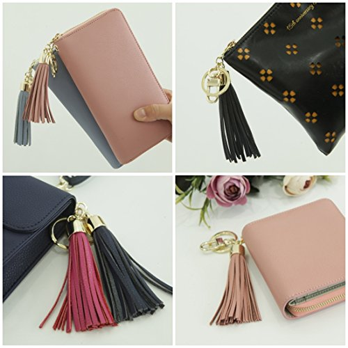 Leather Tassel Charm Women Handbag Wallet Accessories Key Rings (Hot-pink) by Beautyou (Image #2)