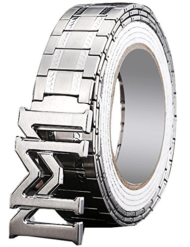 Menschwear Men's Stainless Steel Belt Slide Buckle Adjustable 32mm 154 Silver 130cm