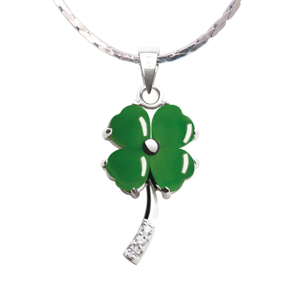 iSTONE Fine Jewelry Natural Gemstone Green Jasper Four Leaf Clover 925 Sterling Silver Pendant Necklace