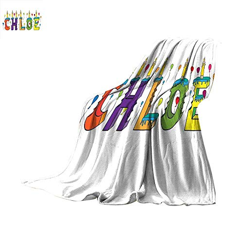 Chloe Travel Throw Blanket Lettering with Cheerful Bitten Cake Candles Girly Birthday Party Design First Name Velvet Plush Throw Blanket 60 x 50 inch Multicolor -