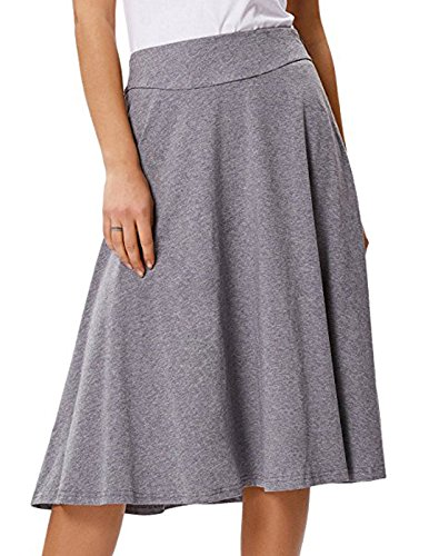 Women's Casual Stretchy A-Line Flare Skater Skirt (L,Grey)