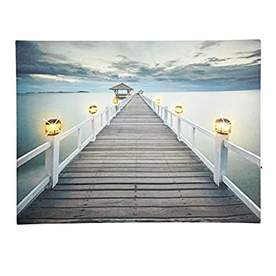 Collections Etc Ocean Beach Pier Serene Scene with Lanterns Lighted Canvas Wall Art