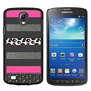 TECHCASE---Cubierta de la caja de protección para la piel dura ** Samsung Galaxy S4 Active i9295 ** --Plata Patrón Líneas rosadas