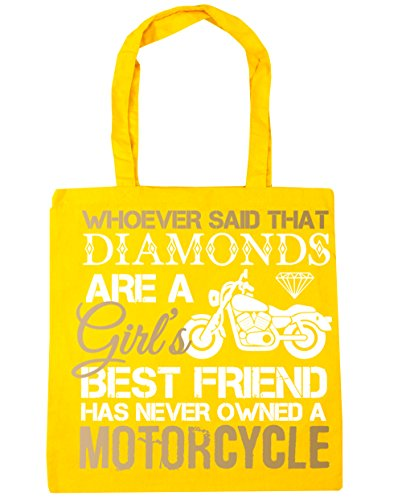 Motorcycle Friend Whoever Shopping Biker Beach 42cm Bag Tote Girl's That a Yellow a Said Motorbike 10 Never litres HippoWarehouse x38cm Has Diamonds Are Owned Gym Best OxAAw