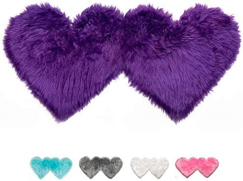 Double Heart Area Rug, Soft Faux Sheepskin Fur Area Carpet Love Shaped Plush Rugs Mat for Home Living Room Bedroom Sofa Floor Mat, 4ft x 2ft Purple