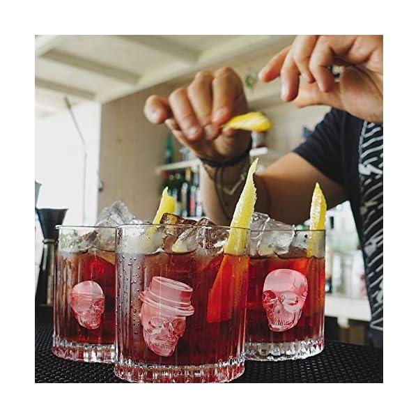 HoneyHolly 3D Del Cranio Cubetto Di Ghiaccio Muffa Con Coperchio, Flessibile Silicone Di Tipo Alimentare Cubetto Di… 7 spesavip