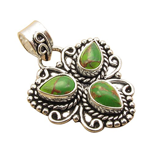 Vintage Style Nouveau Pendant ! Authentic GREEN COPPER TURQUOISE 925 Sterling Silver Plated