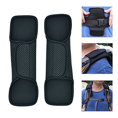 VIEEL 1 Pair GlueReplacement Shoulder Pad & Strap for Camera,Backpack,Messenger,Laptop,Guitar,Bag - Fastener Adjustable Shoulder Pads Long and Comfortable Point Beads Shoulder Pad (Black 2)