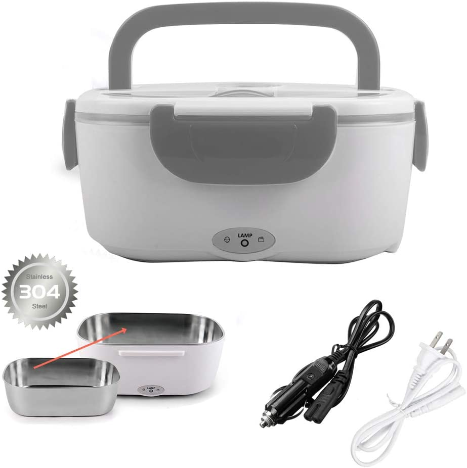 Electric Lunch Box Food Heater for Car and Home with Removable 304 Stainless Steel Storage Container Warming Bento 2 in 1 Car 12V and Home Use 110V (grey)