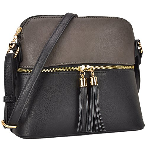 Bags Crossbody Grey Cute with Tassel Medium DASEIN Lightweight Black Purses Handbags qEtTTz