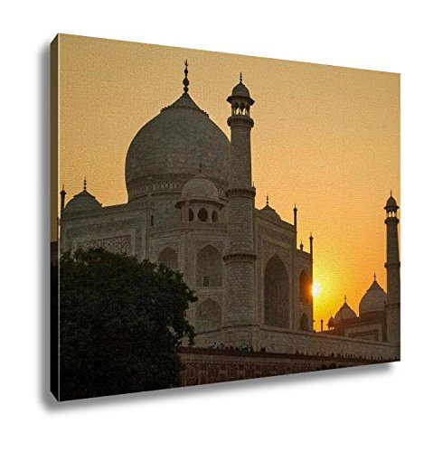 Ashley Canvas Taj Mahal Sunset View From The Banks Of The Yamuna River Wall Art Decor Stretched Gallery Wrap Giclee Print Ready to Hang Kitchen living room home office, 24x30 by Ashley Canvas