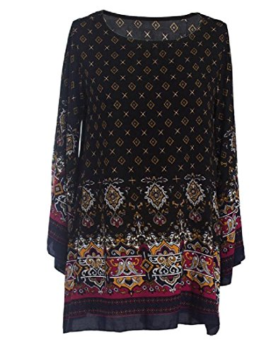 Floral Plus Pattern Club Style Coolred Folk Slim Women Dress Black Size Fit Party XYqYTg
