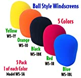 Performance Plus WS-5A Deluxe Foam Ball Style Windscreen, 5 Color Assortment