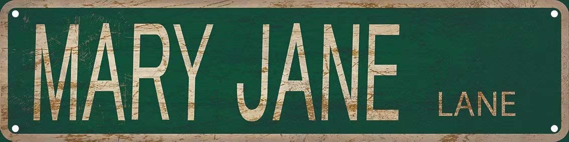 Mary Jane Lane Street Sign 4x16 inch Vintage Rustic Retro Wall Decor Funny Metal Tin Sign