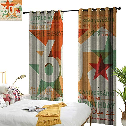 60th Birthday Decor Curtains by World Cities Birthday Party Theme with Abstract Stars Print W72 x L84,Suitable for Bedroom Living Room Study, -