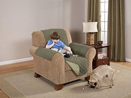 Deluxe Reversible Recliner Furniture Protector, Olive / Sage (Sage Microfiber Recliner)