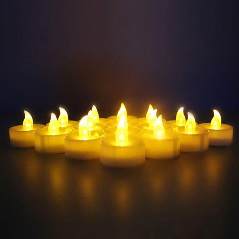 soviton 5pcs Amarillo LED sin llama vela lámpara a pilas para barras de velas vacaciones boda decoración para el hogar