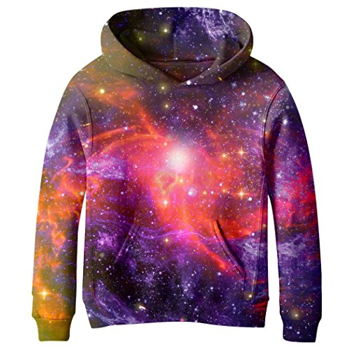5dba3ba96286 COIKNAVS Teen Girls  3D Print Galaxy Fleece Sweatshirts Long Sleeve Pocket Pullover  Hoodies