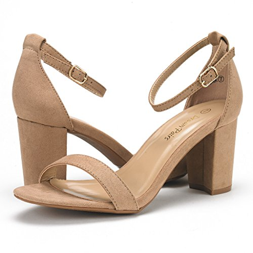 DREAM PAIRS Women's Chunk Nude Suede Low Heel Pump Sandals – 9 M US