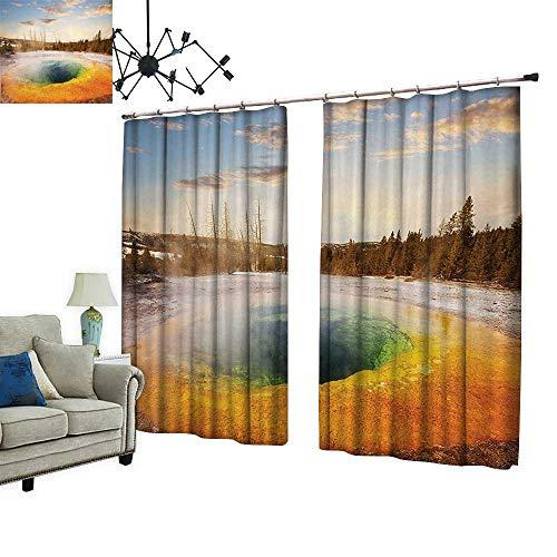 2 Panels Curtain with Hook Morning Glory Pool in Yellowstone National Park Winter Scene Landmark Themed Image Orange Can Block Sunlight,W96.5 xL96.5