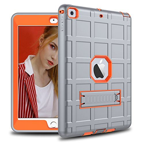 DONWELL Compatible iPad 6 Case iPad 9.7 inch 2018/2017 Shockproof Defender Protective Cover Kickstand Designed iPad 5 5th 6th Generation Model A1823 A1822 A1893 (Type2- Grey/Orange)