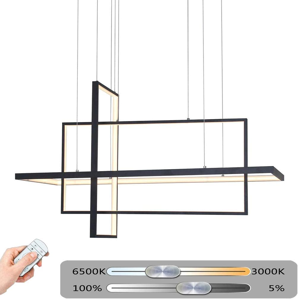 LED 3-Ring Rectangular Black/White Pendant Lamp 80W Kitchen Dimmable Living Room Dining Room Hanging Lamp Office Dining Table Bar Chandelier Modern Design Metal Acrylic Lamp with Remote L60cm (Black)