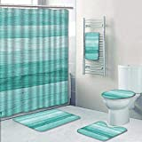 Philip-home 5 Piece Banded Shower Curtain Set Teal or Turquoise Green Wood Texture Decorate The Bath