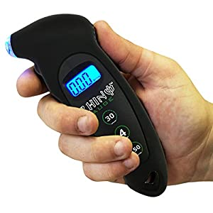 Rhino USA Digital Tire Pressure Gauge 150 PSI, 4 Ranges, Ergonomic Design w/Lighted Nozzle & LCD Backlit Display - Certified Accurate Readings, Best Digital Gage for Bike, Motorcycle, Car, Truck, SUV