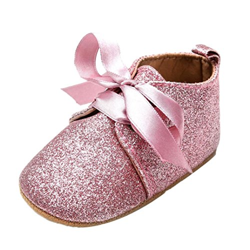 Iuhan Bling Newborn Baby Girl Boys Sequins Shoes Leopard Slip Lace Bow Tie Sneaker (Age:6-9 Month, Pink)