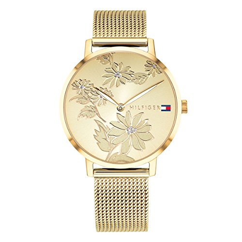 Tommy Hilfiger Women's Quartz Watch with Gold-Plated-Stainless-Steel Strap, Yellow, 16 (Model: 1781921)