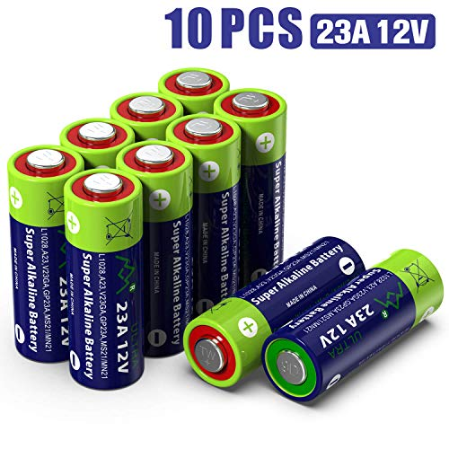 10 Pack A23 23A GP23AE MN21 23GA 12V Alkaline Battery High Capacity 55mAh for Remote Controls, Alarm, keyless Entry, Electronics ()