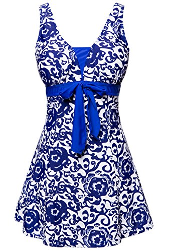 Wantdo Women's High Waist Swimsuit Dress Swimwear Beach Suit Soft Cup Plus Size Beach Skirt(Brilliant Blue,US 12-14)