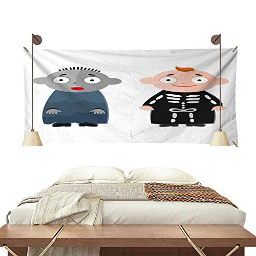 Anyangeight Horizontal Tapestry Vector Illustration of Cute Kids Wearing Halloween Costumes 91W x 60L Inch