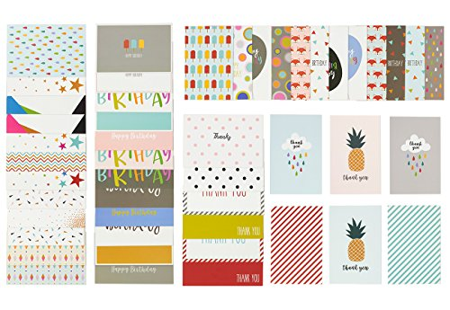 All Occasion Greeting Cards Bulk Box Set, Happy Birthday Thank You Congratulations and Blank Assorted Cards in Fun and Colorful Designs, Envelopes Included, 48 Pack, 4 x 6 Inches