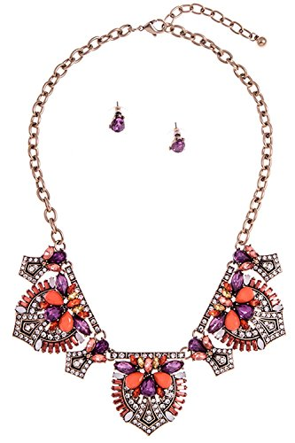 GlitZ Finery PAVE RHINESTONE SEMI FLORAL ORNATE BIB NECKLACE SET (Coral)