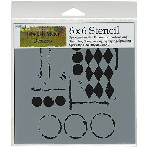The Crafter's Workshop 6 x 6-inch Harlequin Circles Stencil, Black/ White by The Crafter's Workshop