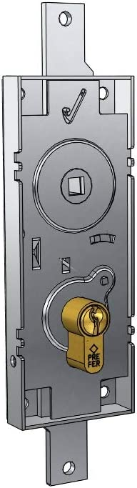 Cerradura para basculante/Garaje Cilindro de Perfil Europeo Entre Ejes 70 mm, Mango de Folle