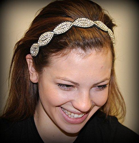 BELLA - Regalia Beaded Rhinestone Stretch No Slip Headband (Hair Jewelry)