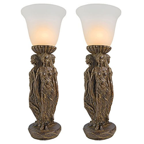 Design Toscano Three Graces Tabletop Torchiere Lamp: Set of Two