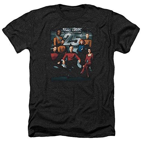 Anniversary Short Sleeve Tee - Trevco Men's Star Trek Short Sleeve T-Shirt, Anniversary Heather Black, Medium