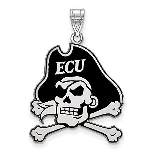- Jewelry Stores Network East Carolina University Pirates Black School Mascot Pendant in Sterling Silver XL - (25 mm x 23 mm)