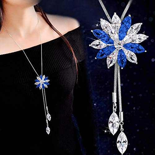 - MEANIT Necklaces for Women, Long Necklace for Women, Necklace Pendant, Embellished with Crystals Necklaces