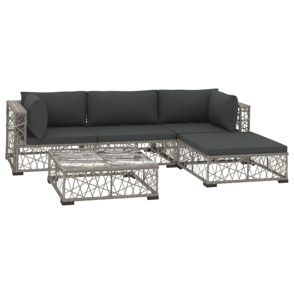 vidaXL 9 Piece Garden Lounge Set with Cushions Outdoor Sofas Sectional Sofa  Set Patio Furniture Seating Lounger Poly