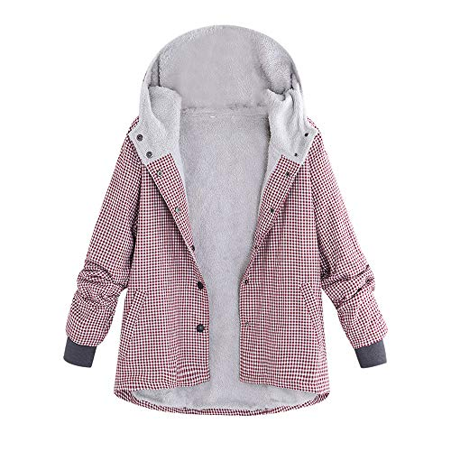 Mysky Women Vintage Plaid Lattice Hooded Pockets Coat Jaccket Ladies Casual Warm Thick Oversize Coat Outwear