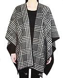 Ike Behar Reversible Fashion Wrap, Black and White Plaid