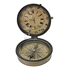 Antique Style Retro Inspired Vintage Table Fully Functional Clock Compass Decor.