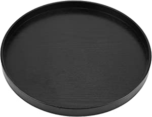 Serving Tray Black Natural Wooden Serving Round Plate with Non-Slip Surface for Tea Coffee Snack Food Meals