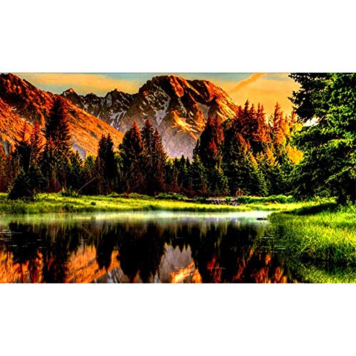 (DIY Diamond Painting for Adults Full Drill by Number Kits Forest Lake Scenery Rhinestone Embroidery Pictures Cross Stitch Arts Crafts for Living Room Home Wall Decor (30X40cm))