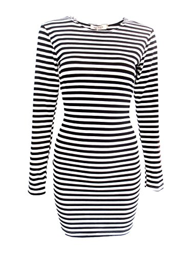 FACE N FACE Women's Knitting Sexy Casual Long Sleeve Short Dress Black and White Stripes XX-Large