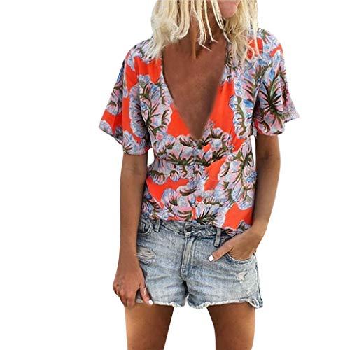 ▶HebeTop◄ Women's Casual V-Neck Floral Print Shirt Fashion Short Sleeve Tops Blouse Tee Orange